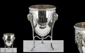 Victorian Period Superb Sterling Silver Neo-Classical Small Rose Bowl,