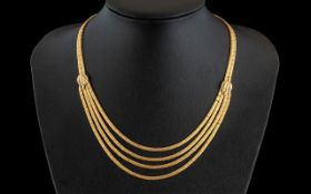 Ladies Italian Stunning Thracian Style 18ct Gold 4 Stranded Drop Necklace,