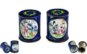 Rare Chinese Pair of Antique Cantonese Enamel Cylindrical Lidded Boxes,