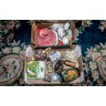 Two Boxes of Porcelain & Pottery, including a French Majolica footed cake plate; Hornsea pottery