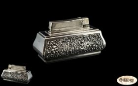 Large Silver Table Top Lighter.