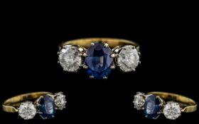 Ladies - Superb Quality 18ct Gold Sapphire and Diamond Set 3 Stone Dress Ring.
