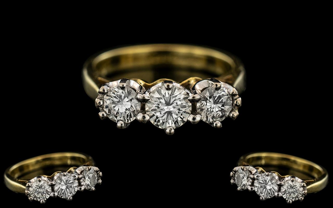 18ct Gold - Nice Quality 3 Stone Diamond Ring.