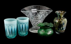 Five Pieces of Art Glass, comprising two turquoise tumblers, a silver resist green vase 3'' tall,