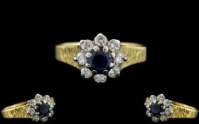 Ladies - Attractive 18ct Gold Diamond and Sapphire Set Cluster Ring ( Top Quality ) Flower head