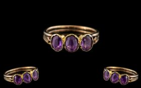 Antique Period Ladies 9ct Gold Attractive 3 Stone Amethyst Set Ring.
