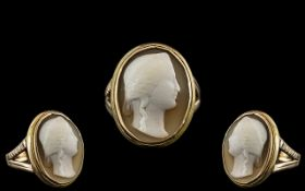 Antique Period - 9ct Gold Well Carved Cameo Ring, Depicting the Portrait of a Young Woman.