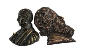 Two Antique Bronze Portrait Miniatures, one of a bearded man with Lozenger mark,