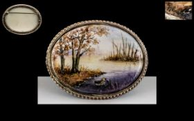 Royal Worcester Artist Signed and Hand Painted Miniature of a River Scene with Trees on The