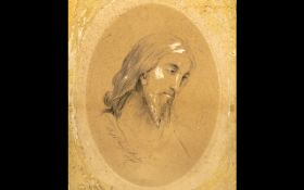 Victorian Sketch on Board. Painting of M