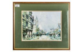 George Thompson 20thC Artist Framed Wate