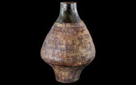 Large Art Studio Pottery Vase of bulbous