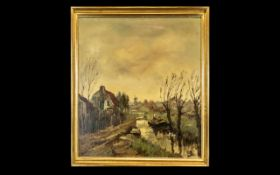 Dutch Oil Painting on Canvas Depicting a