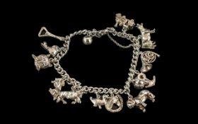 Vintage - Sterling Silver Charm Bracelet