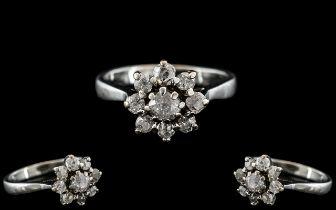 18ct White Gold - Attractive Diamond Set