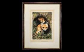 Original Watercolour of Foxes In Den. Ni