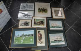 A Collection of Framed Prints ten in tot