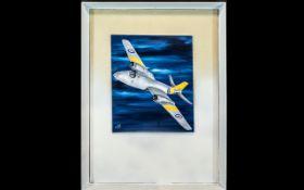 Oil on Board of British Fighter Jet. Oil