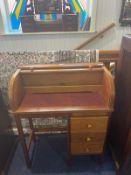 LAdies Beechwood Roll Top Desk with thre