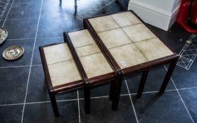 Modern Tiled Top Teak Nest of Three Tabl