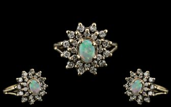Ladies - Attractive 9ct Gold Opal and Di
