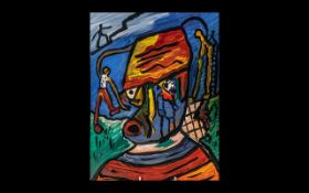 Oil on Board by Robert Eric Haworth, mod