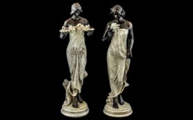 Art Nouveau Style Pair of Hand Painted R