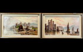 Conway Castle Pair of Oils on Canvas, de