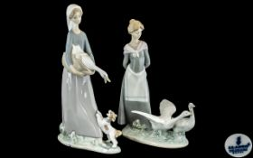 Lladro - Pair of Hand Painted Porcelain