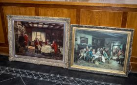 Two Oleographs After Frank Moss Bennett depicting coach passengers waiting at an inn and huntsmen