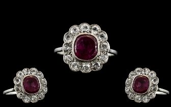 Antique Period - Attractive 18ct White Gold Ruby and Diamond Set Cluster Ring, The Central Natural