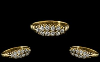 Antique Period - Attractive 18ct Gold Diamond Set Ring In a Gallery Setting. The Old Round Cut