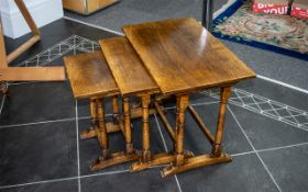 """A Nest of Three Tables, of traditional style, turned legs, 19"""" high z 23.5"""" x 15"""" deep."""
