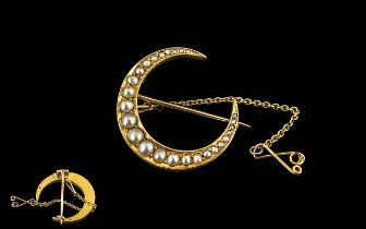 Antique Period Attractive 18ct Gold Crescent Shaped Brooch, Set with Seed Pearls, Not Marked but
