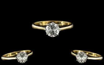 18ct Gold and Platinum Single Stone Diamond Set Ring. Marked 18ct and Platinum to Interior of Shank.