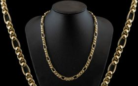 9ct Gold Roller Ball Link Necklace, Solid Links, 20 Inch In Length,