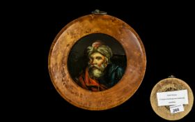 Antique Painted Papier Mache Roundel depicting a man in early 19thC Turkish attire with a fancy,
