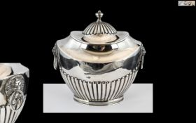 Victorian Period - Good Quality Sterling Silver Twin Lion Mask Handle Lidded Tea Caddy.