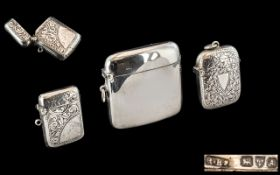 A Small Collection of Sterling Silver Hinged Vesta Cases, Various Shapes and Sizes.
