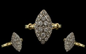 Ladies 18ct Gold and Platinum Boat Shaped Diamond Set Dress Ring, Full Hallmark for 18ct.