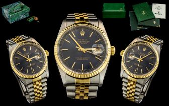 Rolex - Oyster Perpetual Gents 18ct Gold and Steel Superlative Chronometer Date-Just Wrist Watch.