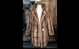 Golden Brown Vintage Mink 3/4 Jacket, with half belt at rear, two slit pockets, collar and revere,