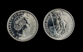 United Kingdom Brittania Silver 2 Pounds Coin - Date 2013. Purity .