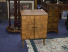 Unusual 1960s Record Cabinet with fitted LP compartments 1 - 18 with walnut and teak inlaid to the
