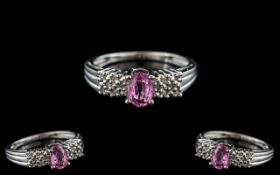 Ladies - Attractive 10ct White Gold Pink Sapphire and Diamond Set Dress Ring. Marked 9ct Gold to