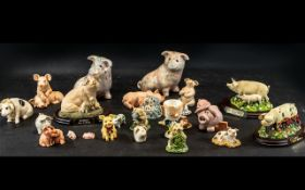 Collection of Pig Figures, comprising 'Pigs in Bloom' series 'Poppy' and 'Daisy' on wooden mounts,