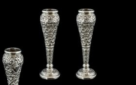 Victorian Period Pair of Small Repousse Silver Work Posy Vases with Vacant Cartouches and Extensive