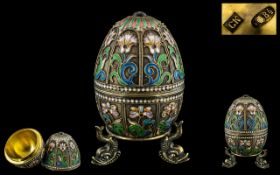 Russian Imperial Superb Quality and Exquisite Jewelled Set Silver Gilt - Cloisonne Enamel Egg and