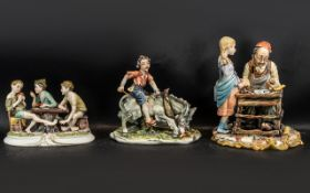 Three Capodimonte Figures, to include 'The Cheats', 'The Cobbler' and 'Riding a Donkey'.