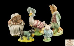 Five Beatrix Potter Figures, to include: Foxy Whiskered Gentleman, Jemima Puddleduck, Mrs Tiggy
